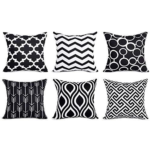 wuayi 6 Stück/Set Fashion Geometrische quadratische Dekorative Überwurf-Kissenbezüge für Zuhause Sofa Dekor, Baumwollmischung, Schwarz, 45 x 45 cm -