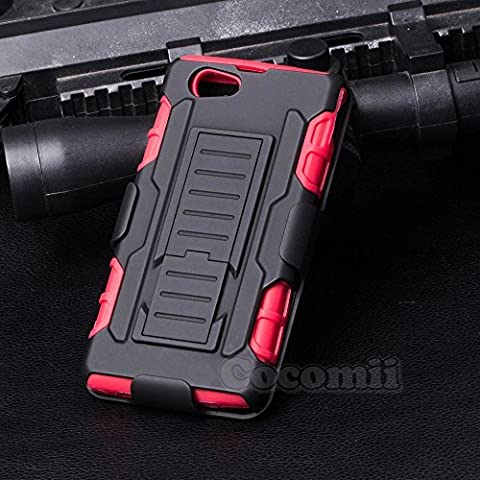 Sony Xperia Z1 Compact Coque, Cocomii Robot Armor NEW [Heavy Duty] Premium Belt Clip Holster Kickstand Shockproof Hard Bumper Shell [Military Defender] Full Body Dual Layer Rugged Cover Case Étui Housse D5503 (Red)