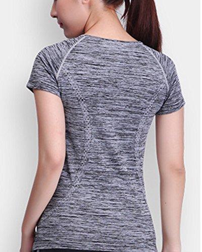 LaoZan Femme T-Shirt de Sport Débardeur Tops avec Manches Courtes Pour Yoga Fitness Respirant Quick-Drying Gris