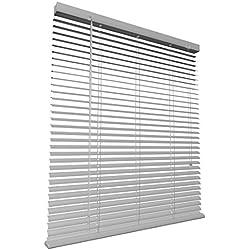 Levivo - Persiana de aluminio (cordón de tracción, longitud acortable individualmente, 80 x 130 cm), plateado