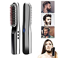 ‏‪Beard Straightener Brush, lesgos Portable Cordless Hair Straightening Brush, Quick Styling Ceramic Anti-Scald Curling Iron Comb for All Hair Type, USB Rechargeable‬‏