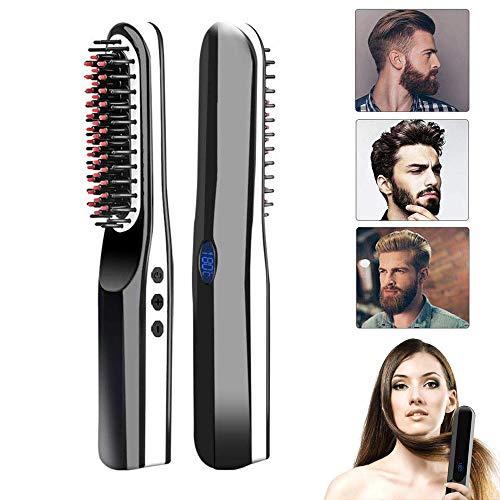 Beard Straightener, lesgos New USB Rechargeable Inalámbrico