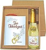 Zur Hochzeit Geschenkbüchlein kleines Buch im Geschenke Set mit Gold Sekt 20032 , 22 Karat Blattgold als Hochzeitsgeschenk