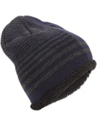 Universal Textiles Rockjock Unisex Striped Knitted Fleece Lined Winter Beanie Hat