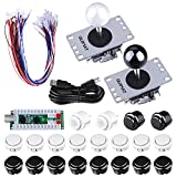 Quimat Arcade Game Kits, 2 player Zero Delay Arcade Game DIY Kits USB Encoder Way Joystick Push Button for Mame Jamma & Other Fighting Games (QR03)
