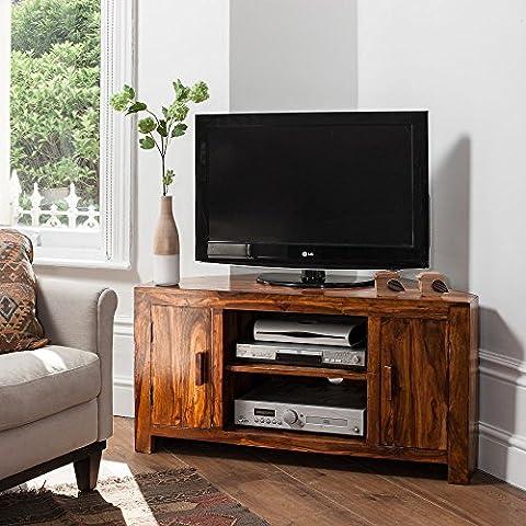 Solid Sheesham Wood Television Stand | Corner TV Unit |