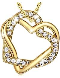 MARENJA-Regalo San Valentín Collar Mujer de Moda-Colgante Ddoble Corazón Entrelazado-Joya Chapada en Oro con Cristal