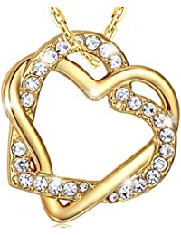 MARENJA Moda-Collar Gargantilla 45-50cm chapado en oro con colgante de doble corazón entrelazado cristal
