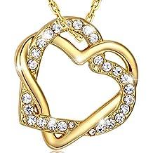 MARENJA Collar Gargantilla Mujer de Moda Chapado en Oro con Colgante de Ddoble Corazón Entrelazado de Cristal Pavé 45-50cm