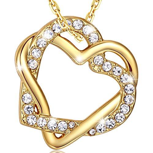 MARENJA Moda-Regalo San Valentín-Collar Gargantilla 45-50cm chapado en oro con colgante de doble corazón entrelazado cristal
