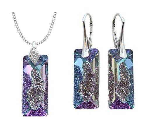 Crystals & Stones NEUHEIT - RECTANGLE - Tolle Exklusive Schmuckset - Farbe Vitrail Light - Silber 925 Schön Damen Ohrringe und Halskette mit Kristallen von Swarovski Elements - Wunderbare Set !!