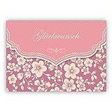 Wunderbare Vintage Glückwunschkarte mit Retro Kirschblüten Muster in rosa zur Hochzeit, Taufe, Geburt, Examen etc: Glückwunsch