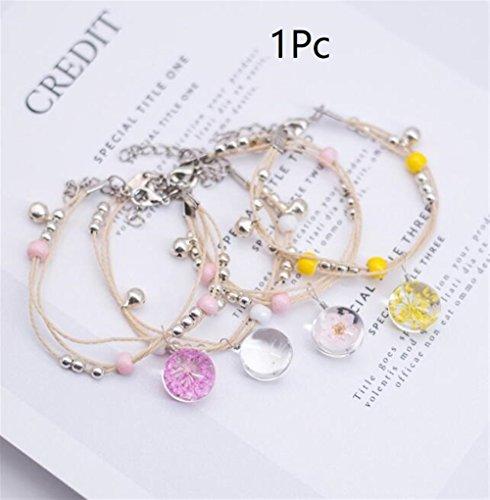 Perle Pflanze (YOIL Exquisite und Kompakte Schmuck Dekoration Glas getrocknete Blume Pflanze Armband Perlen Armband (zufällige Farbe))