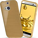 moex HTC One M8 | Hülle Silikon Gold Brushed Back-Cover TPU Schutzhülle Ultra-Slim Handyhülle für HTC One M8/M8s Case Dünn Silikonhülle Rückseite Tasche