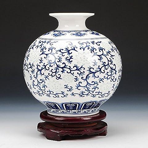 Loopsd Porcellana blu e bianco squisita Bone China Thin vaso piccolo e moderno classico salotto (Bone China Crema)