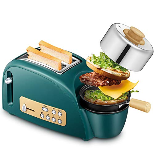 Grün Rostfreier Stahl Toaster, 2 Slice Toaster mit Mini Bratpfanne, 5 in Toaster mit Eierkocher und Wilderer, 7 Modi von Bräunungskontrolle, 220 V