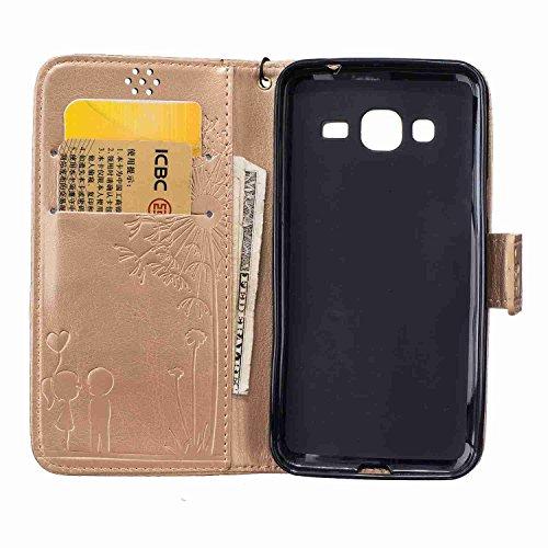 Guran® PU Leder Tasche Etui für iPhone 7 (4.7 Zoll) Smartphone Flip Cover Stand Hülle und Karte Slot Case-schwarz gold