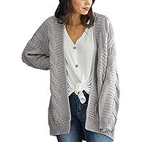 Mujeres Tops Rovinci Las mujeres ocasionales de moda de invierno sólido sólido frente abierto de manga larga prendas de punto abierto frente de la rebeca suéteres de prendas de vestir exteriores S-3XL