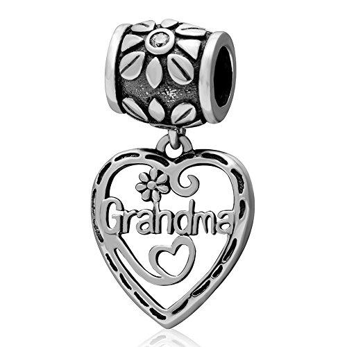 Oma Charms 925Sterling Silber Herz Oma baumeln bead-great Geschenk für Ihre (Pandora Authentisch Charms Baumeln)