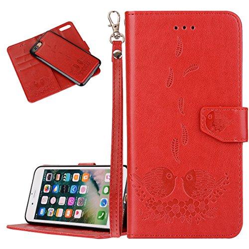 Custodia iPhone 7 Plus, ISAKEN Custodia iPhone 7 Plus, iPhone 7 Plus Flip Cover con Strap, Elegante 2 in 1 Custodia in Sintetica Ecopelle Sbalzato PU Pelle Protettiva Portafoglio Case Cover per Apple  Uccelli: rossa