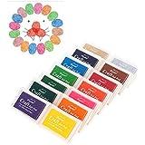 Vabneer 15 Colores Almohadillas de tinta Tampón sellos Artesanía para la tela de madera de papel