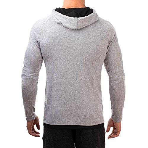 SMILODOX Slim Fit Kapuzenpullover Herren   Hoodie für Sport Fitness & Freizeit   Sportpullover - Sweatshirt Pulli - Pullover Langarm - Sportshirt mit Aufdruck Grau