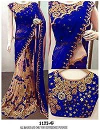 Mayur Silk Mills Royal Blue Embroidered Half&half Georgette Saree With Unstitchd Blouse Piece