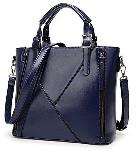 Xinmaoyuan Borse donna Borsetta tracolla messenger bag cera Olio di cucitura della pelle Borsa da donna Blue