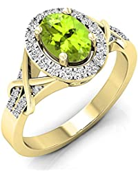 6a5ebdc1df36a Bague Femme 10 ct Or Jaune Ovale Coupe Peridot   Rond Diamants