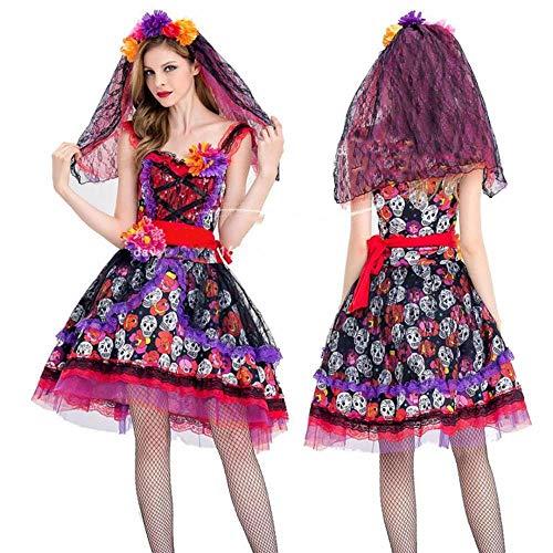 Averyshowya Kostüm für Erwachsene Halloween Kleid Karneval Kostüme niedliche Prinzessin Kleid Braut Kleid rote Blume @ - Prinzessin Braut Kleid Kostüm Red