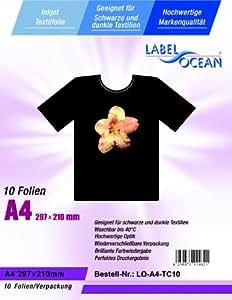 10 Feuilles DIN A4 transferts pour textile - Film T-shirt pour les tissus sombres et noirs