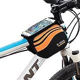 upanbike Fahrrad Rahmen Tasche doppelte Tasche 3in 1Design Vorne Tube Tasche Fahrradtasche mit Transparente Touchscreen für 12,2cm ~ 14,5cm Handy, Orange