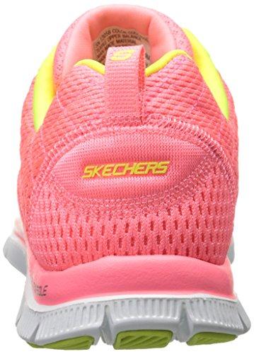 Skechers - Flex AppealFirst Glance, Sneakers da donna Pink Mesh/Yellow Trim