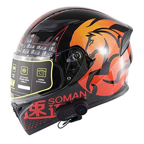 NBZH Motorrad Vollgesichts-ECE-Helm - Racing Motorradhelm mit Sonnenblende, Intercom-Kommunikationssystem Bluetooth-Headsets mit 800 m, GPS, UKW-Radio, MP3-Player,orange,L Orange Bluetooth