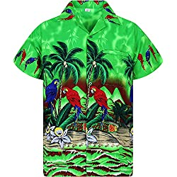 Funky Camisa Hawaiana, Parrot, Verde, L