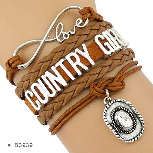 CXKNB Land Junge Mädchen Cowboy Cowgirl Hut Stiefel Unendlichkeit Charme Armbänder Antik Silber Handgemachte Verstellbare Schmuck Frauen Männer Geschenk - Mädchen 13 Cowgirl-stiefel Größe