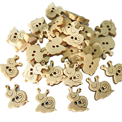 (Qinlee 100pcs Holz Knopf Karikatur Tier form Holzknöpfe Nähzubehör Kinder Neuheit Handwerk Knöpfe DIY Bekleidungs Zubehör)