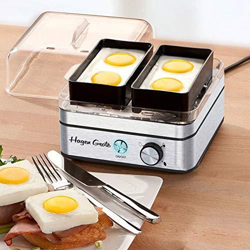 Hagen Grote Eierkocher, edler Edelstahl-Korpus 17 x 17 x 16,4 cm (B/T/H), Eier perfekt kochen und pochieren, für bis zu 8 Frühstückseier