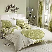 Manhatten impreso Reversible edredón para cama King colcha juego de ropa de lino verde