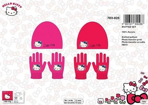 Set Bonnet et Gants Hello Kitty - Taille unique *** NEUF l