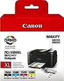 Canon PGI-1500XL 4 original Tintenpatrone Multipack SchwarzXL/CianXL/MagentaXL/AmarilloXL für Maxify Drucker MB2050-MB2150-MB2155-MB2350-MB2750-MB2755