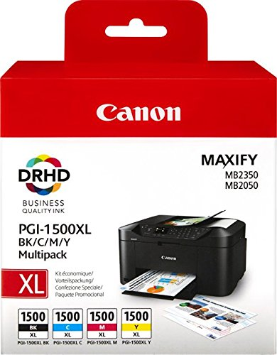 Canon PGI-1500XL 4 original Tintenpatrone (Multipack XL/CianXL/MagentaXL/AmarilloXL für Maxify Drucker MB2050-MB2150-MB2155-MB2350-MB2750-MB2755) schwarz