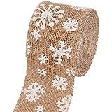 gespout Natural yute saco de banda Lino artesanía cinta con copo de nieve Impreso DIY zeremonielle Decoración para Boda Hogar, Fiesta, vacaciones (100cm * 4cm)