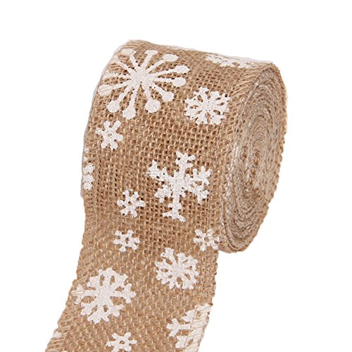 weimay Burlap Ribbon Roll With White Lace Snowflake Pattern for Outdoor Wedding Christmas Party (1.1 Yards)