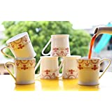 Femora Bone China Red Floral Border Microwave Safe Tea Cup Coffee Mug For Office & Home, Set Of 6, 210ml- 1 Year Warranty