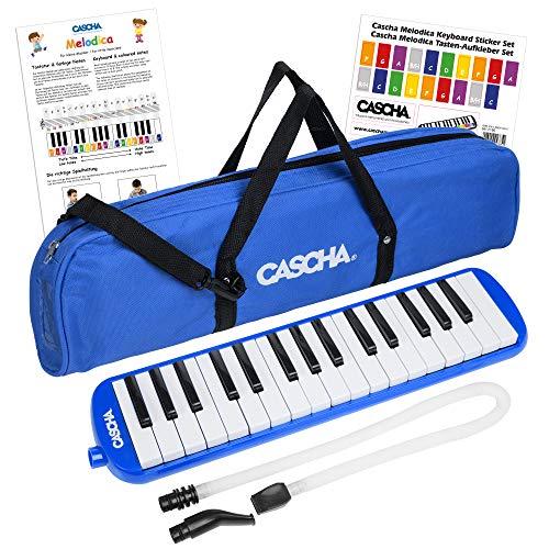 CASCHA Melodica für Kinder und Anfänger, Kinderinstrument, Blasinstrument, Melodica mit inkl. Mundstück und Tasche, Blau