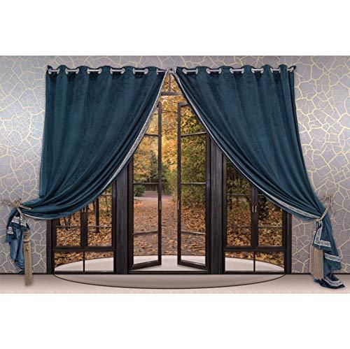 OERJU 1,5x1m Fenster Vorhang Hintergrund Blauer Vorhang Tapete Französisches Fenster Holzrahmen Tür Hintergrund Kostümparty Liebhaber Hochzeit Erwachsene Porträts Fotografie Requisiten