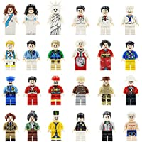 Mini figurines Set-24 Piece Minifigures Ensemble de professions, construction de briques de personnes de la communauté de différentes industries complet, Blocs de construction Enfants jouet éducatif cadeau (24 pièces)