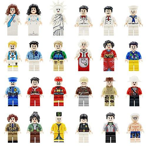 Mini Figuren Set-24 Stück Minifiguren Set Berufe, Gebäude-Ziegelstein der Gemeinschaft Menschen aus verschiedenen Branchen Complete, Bausteine für Kinder pädagogisches Spielzeug-Geschenk (24 Stück) (Set Lego Menschen)