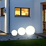 s.LUCE 3er Set Kugelleuchten Globe+ mit LED Ø 30 40 50cm Dekolampe Aussen